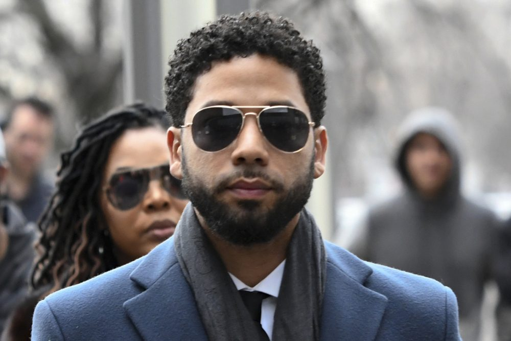 Former Empire actor Jussie Smollett arrives at the Leighton Criminal Court Building for his hearing in Chicago on March 14, 2019. Smollett faces new charges for reporting an attack that Chicago authorities contend was staged to garner publicity, according to media reports Tuesday.