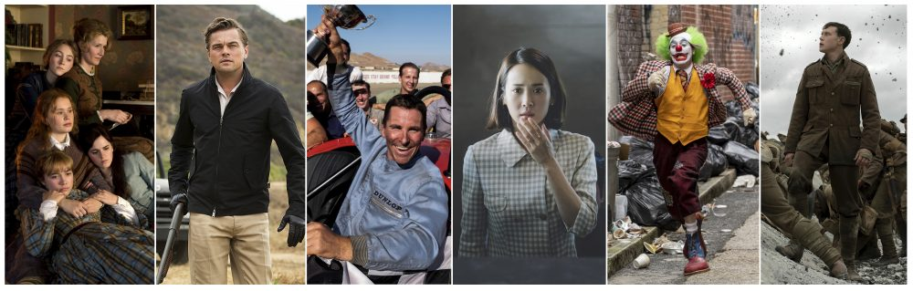 """This combination photo shows scenes from six Oscar nominated films, from left, """"Little Women,"""" """"Once Upon a Time... in Hollywood,"""" """"Ford v. Ferrari,"""" """"Parasite,"""" """"Joker,"""" and """"1917."""" The Oscars will be held on Sunday, Feb. 9. (Sony/Sony/20th Century Fox/Neon/Warner Bros/Universal Pictures via AP)"""