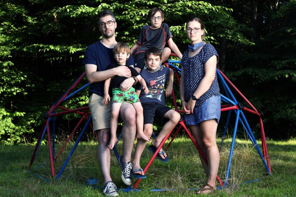 The Trombley family at their home in Windham are clockwise from top left: Michael; Julian, 10; Maire; Clemmie, 8; and Arthur, 3. Maire, a fourth-grade teacher in Scarborough, is concerned that teachers aren't being given much choice about returning to school. Her husband is also worried about students returning in-person.
