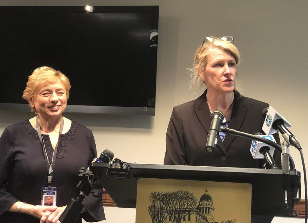"Gov.-elect Janet Mills has chosen Jeanne Lambrew, right, a Mainer who was a health policy expert in the Obama administration, to be commissioner of the Maine Department of Health and Human Services. Mills said Lambrew is the right person to put in charge of ""rebuilding"" the department."