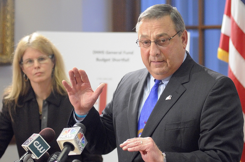 PROPOSAL: Mary Mayhew, commissioner of the Department of Health & Human Services, and Gov. Paul LePage answer questions during a news conference Tuesday to announce changes to the MaineCare system.