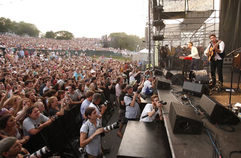 Mumford & Sons performs during the Gentlemen of the Road music festival at the Eastern Prom in Portland on Saturday.