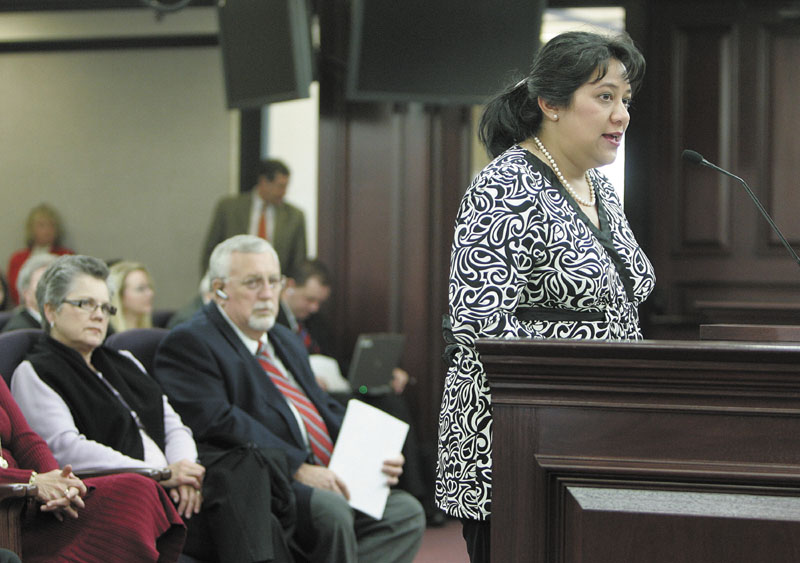 Patricia Levesque speaks before the Senate education committee, Wednesday, March 5, 2008, in Tallahassee, Fla.
