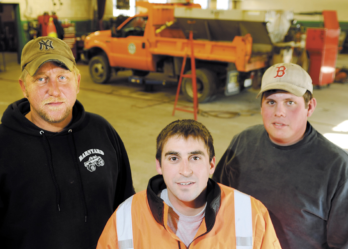 Augusta Public Works employee Nick Melanson, center, is receiving help from colleagues, including David Burlingame, left, and Ryan Theberge, after his son was born with a rare genetic disorder.