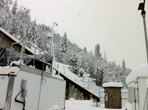This 2011 image provided by the National Oceanic and Atmospheric Administration shows a field survey site in California's Sierra Nevada mountains. A new study published online Thursday in the journal Science found snowfall in the Sierras was influenced by dust and microbes from as far away as Africa.