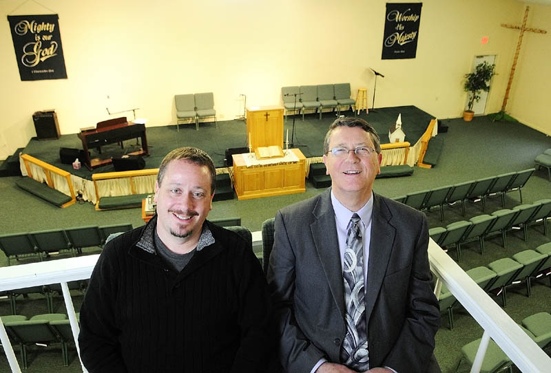 The Rev. Scott Jones, left, and his father the Rev. Cecil Jones pose for a photo on Thursday at the Gardiner Church of The Nazarene. The Rev. Scott Jones recently became pastor at the church where his father was pastor from 1972-76.