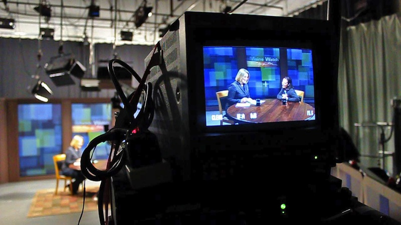 """In this April 2012 file photo, Maine Public Broadcasting Network's """"Maine Watch"""" is taped at their television studio in Lewiston. Up to 10 employees of MPBN will lose their jobs as state and federal money is cut, and """"Maine Watch"""" is going on hiatus."""