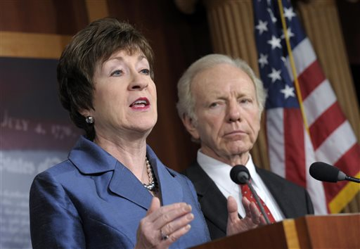 """In this Dec. 31, 2012, photo, Sen. Susan Collins, R-Maine, speaks during a news conference on Capitol Hill as Sen. Joseph Lieberman, I-Conn., listens. """"I do not think it is healthy for the Republican Party to be a regional party,"""" Collins says."""