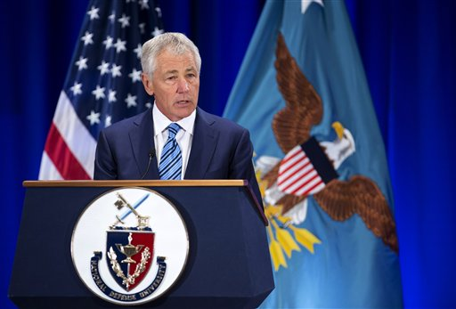 "Defense Secretary Chuck Hagel speaks at the National Defense University at Fort McNair in Washington on Wednesday. "". . . The military's modernization strategy still depends on systems that are vastly more expensive and technologically risky than what was promised or budgeted for."""