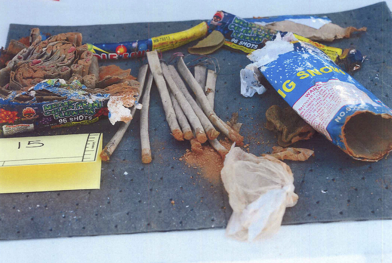 This photo released by the U.S. Attorney's Office shows fireworks that a complaint says were recovered from inside a backpack belonging to Boston Marathon bombing suspect Dzhokhar Tsarnaeva. The backpack was found in a landfill in New Bedford, Mass.