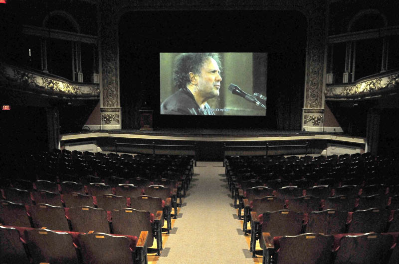 """Jonathan Demme's """"Enzo Avitabile Music Life"""" lights up the big screen during a soundcheck on the opening night of the Maine International Film Festival at the Waterville Opera House today."""