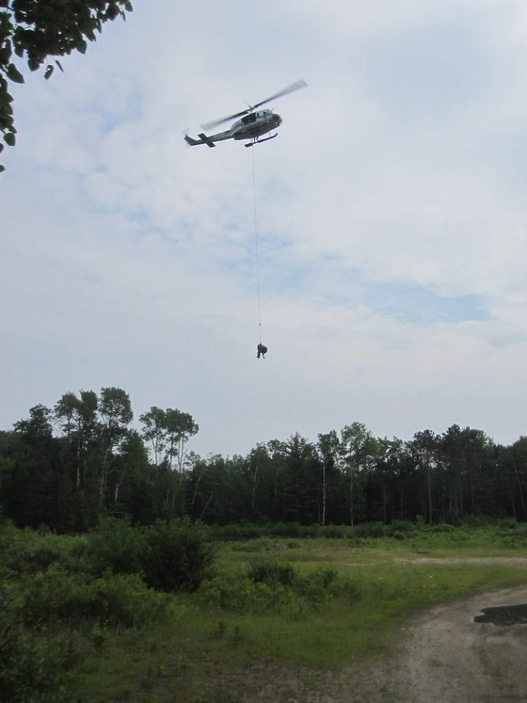 A 62-year-old Texas man had to be airlifted off a hiking trail on Mount Katahdin on Monday, July 1, 2013 after a large rock fell on him.