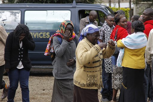 Family members outside the Nairobi City Mortuary mourn the death of loved ones killed in the Westgate Mall attack on Tuesday.