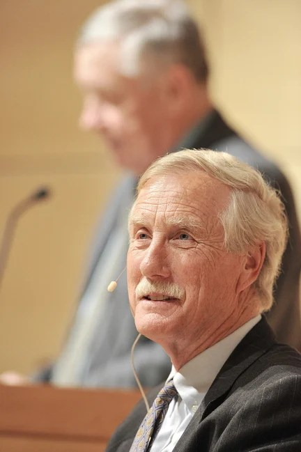 Independent U.S. Sen. Angus King of Maine speaks Thursday at the University of Southern Maine's Hannaford Lecture Hall.