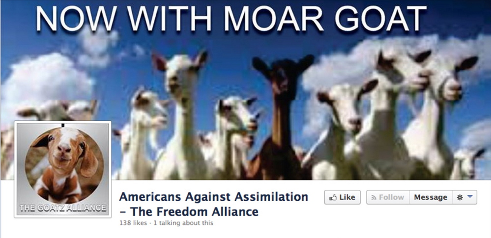 """A screen shot of the Facebook page for """"The Goatz Alliance."""""""