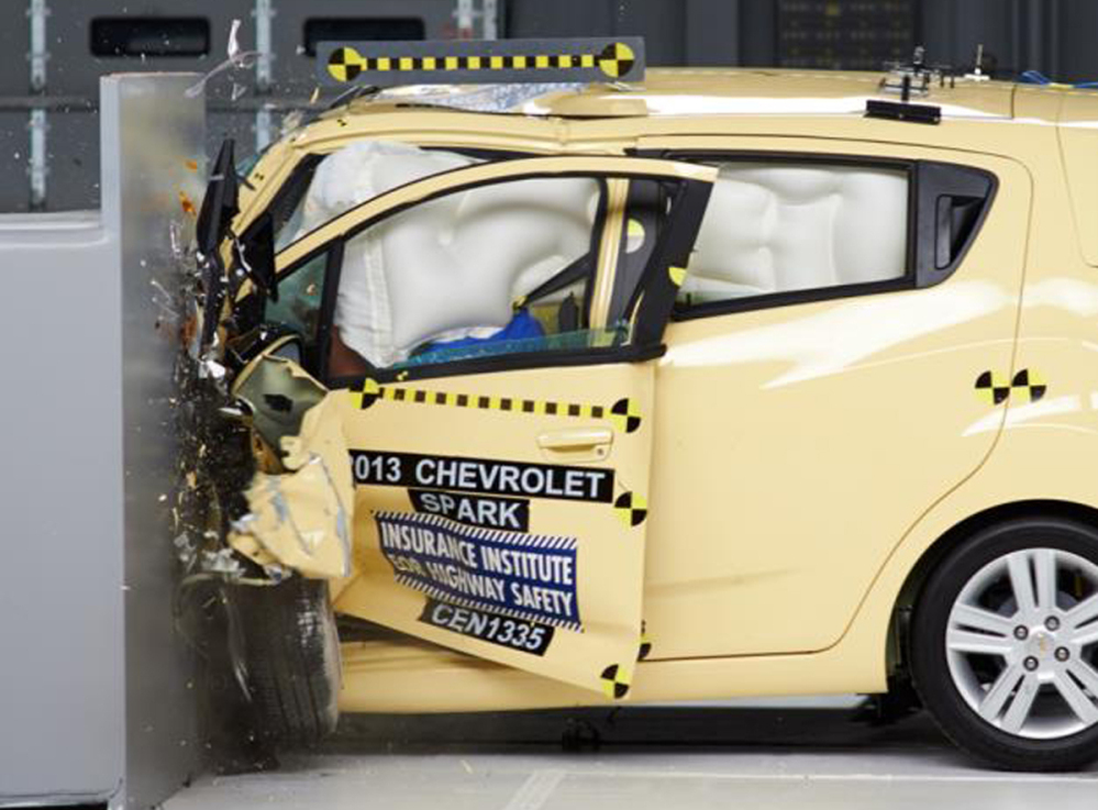 """The Chevrolet Spark was the only mini-car tested to earn an """"acceptable"""" rating in the Insurance Institute for Highway Safety's test. None of the cars earned the highest rating."""