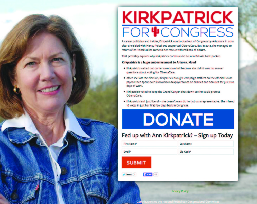 """A screenshot shows the AnnKirkpatrick.com website created by Republicans that appears to support the Democratic congresswoman in her campaign for re-election but in the fine print describes her as """"a huge embarrassment to Arizona."""" Republicans have made nearly 20 such websites that are being denounced as deceptive by Democrats."""