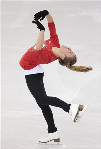 Ashley Wagner, of the United States, skates at the figure stating practice rink ahead of the 2014 Winter Olympics, Wednesday, Feb. 5, 2014, in Sochi, Russia. (AP Photo/Ivan Sekretarev) 2014 Sochi Olympic Games;Winter Olympic games;Olympic games;Sports;Events;XXII Olympic Winter Games