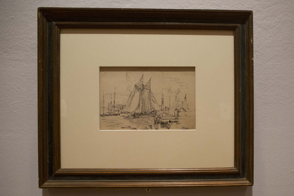 """This sketch by John Marin in black ink on paper, titled """"Delaware River,"""" is on display at the Arkansas Arts Center, which has built a reputation for its collection of artworks done on paper."""
