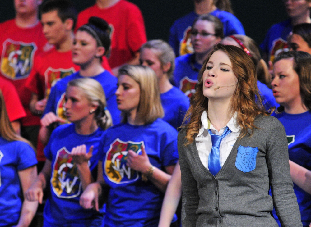 """Fool throttle: Maddison Reis sings """"Chain of Fools"""" during a Chizzle Wizzle rehearsal Friday at Cony High School in Augusta."""