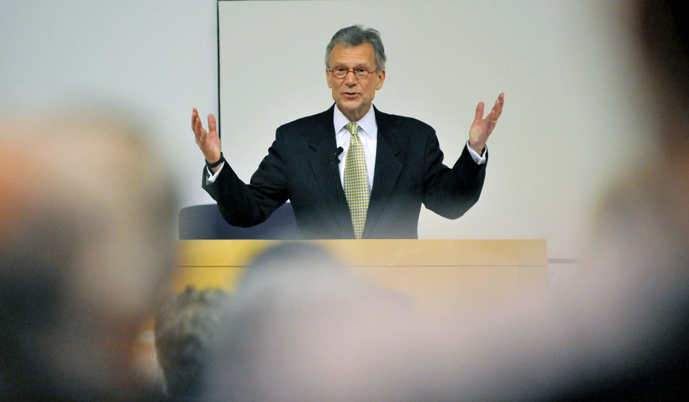 Staff photo by Michael G. Seamans Former U.S. senator and former majority leader Tom Daschle of South Dakota delivers the annual George Mitchell International Lecture at Colby College in Waterville on Wednesday.
