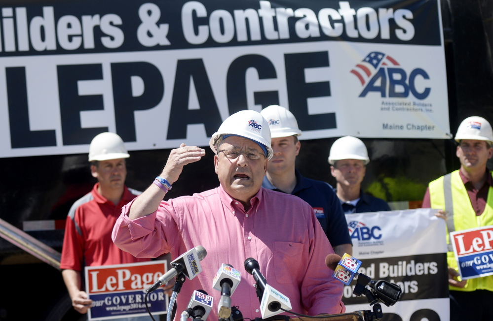 Gov. Paul LePage speaks at a Storey Brothers Excavating site in Gray on Tuesday. He announced his plan for $2.2 billion in transportation infrastructure spending.