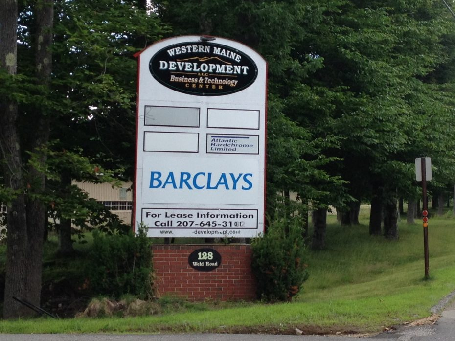 The Barclaycard call center sign is seen in Wilton in 2014.