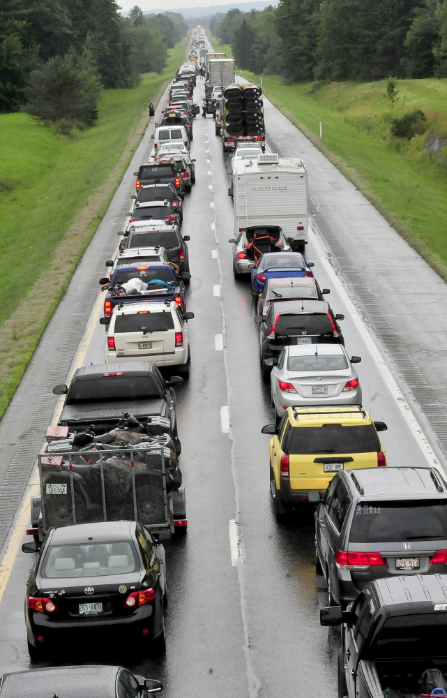 Southbound traffic on Interstate 95 was backed up for miles Sunday from mile 134 in Benton to the Clinton exit following a rollover involving a truck hauling a trailer on Sunday.
