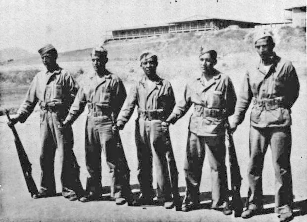 """During World War II on the island of Okinawa, John McLeod of Westbrook was a Marine working side by side with Rex Kontz, a """"code talker"""" from Arizona shown above in the center as he poses with other Navajo code talkers who served in the Marines."""