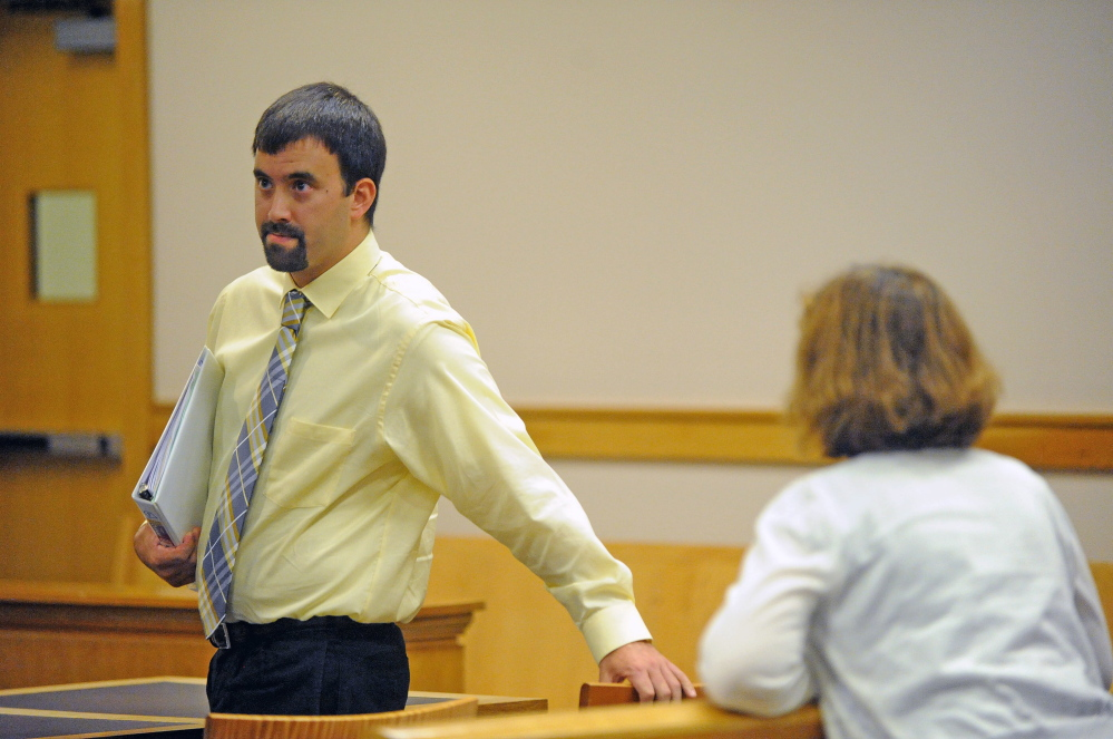Andrew Maderios appears for his initial appearance Aug. 13 in Somerset Superior Court in Skowhegan.