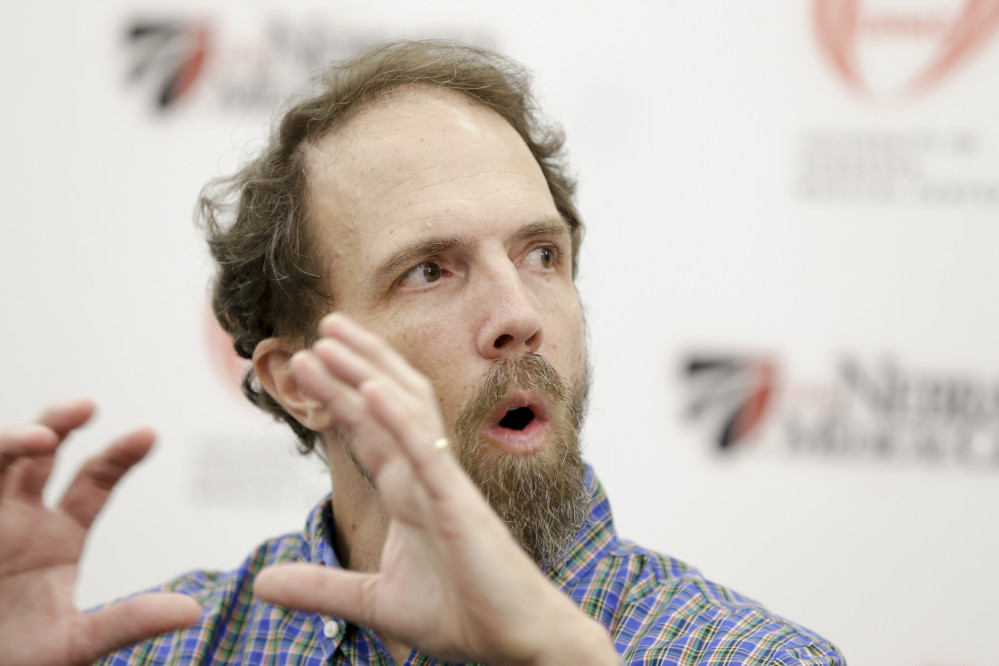 Former Ebola patient Dr. Richard Sacra participates in a news conference at the Nebraska Medical Center in Omaha, Neb., in this Thursday.