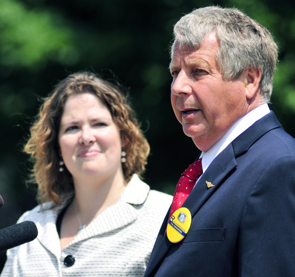 Independent candidate Blaine Richardson appears at a joint appearance with Democratic candidate Emily Cain on July 31 outside the State House in Augusta.