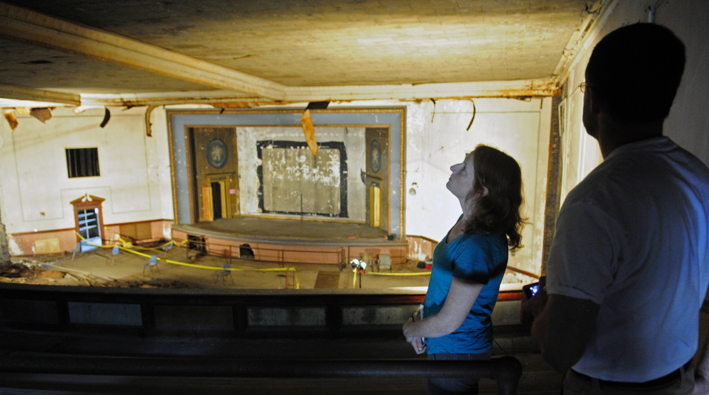 Gray Harris, of Jefferson, left, and Otis Carroll, of Newcastle, look around in the Colonial Theater balcony during a tour on July 26.