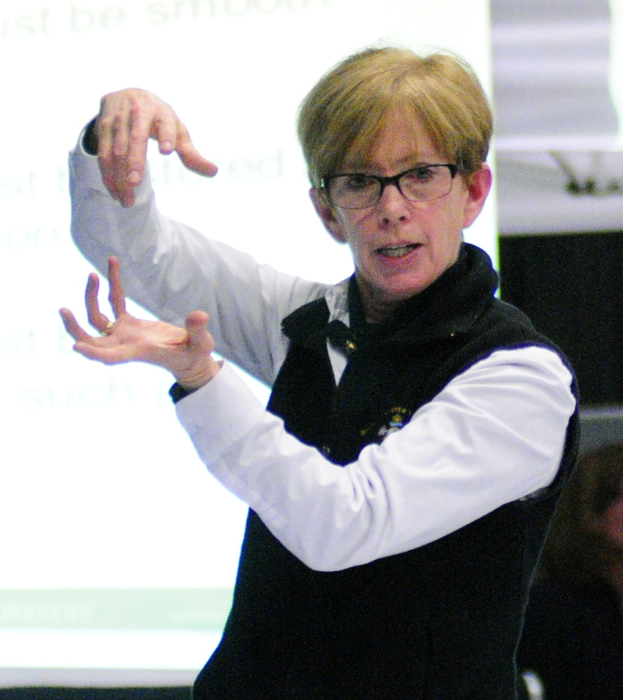 Ronda Stone gives a talk to a standing-room-only audience Wednesday about how to use a home kitchen commercially at the 74th Annual Agricultural Trades Show at Augusta Civic Center.