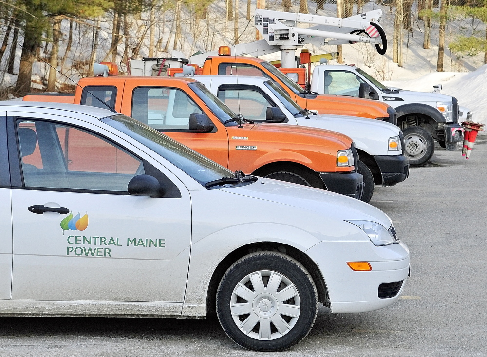 Rows of vehicles are parked on March 7, 2014, at Central Maine Power's Augusta Service Building on Old Winthrop Road.