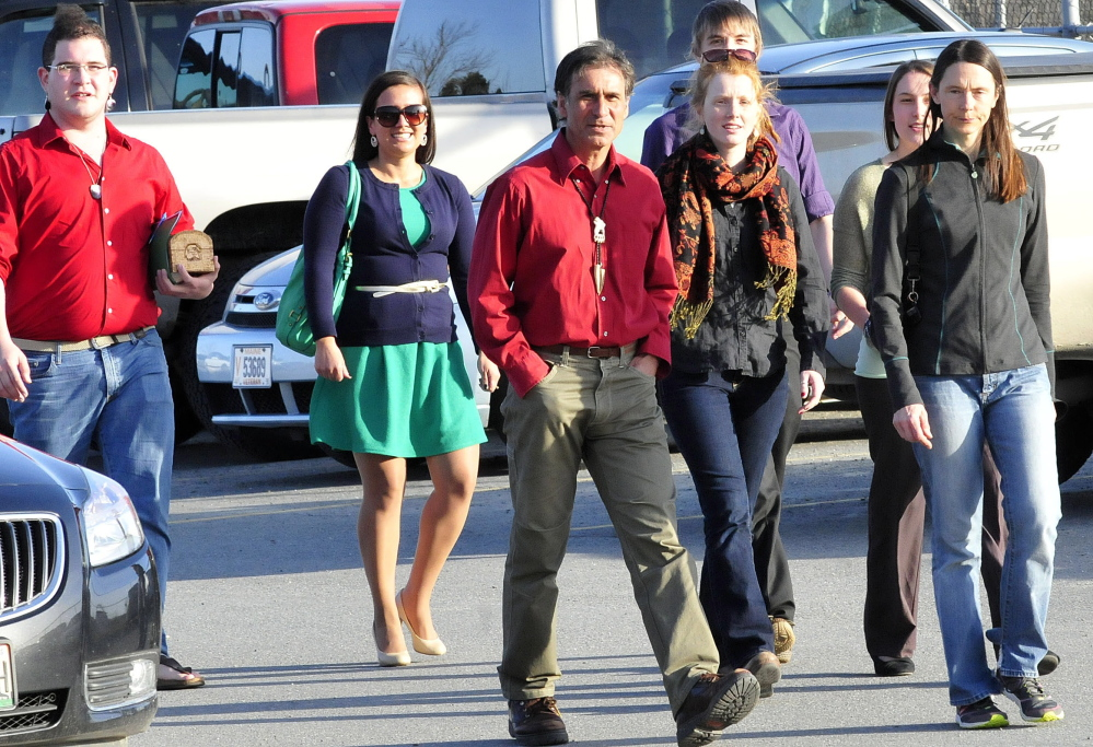 Representatives of Maine's Wabanaki tribes and others who support stopping ending use of the Indian as the Skowhegan Area High School sports mascot arrive at a Skowhegan meeting on the topic in April. A rally is planned tonight at River Fest in Skowhegan by those who advocate getting rid of the nickname and mascot.