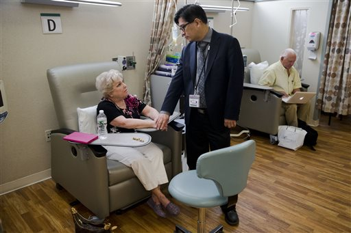 Judith Bernstein meets with Dr. Henry Fung at the Fox Chase Cancer Center in Philadelphia on Aug. 4,. Her husband, Arnold, is at right. Bernstein has had eight different types of cancer over the last two decades, all treated successfully. The Associated Press