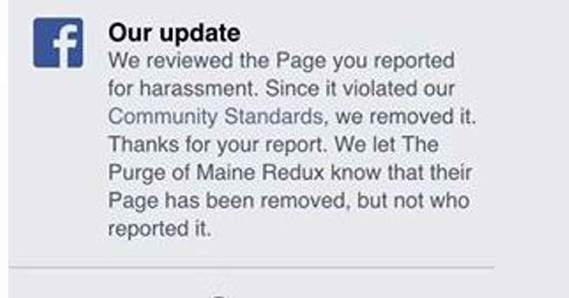 Facebook has a process to report a page, as seen with the latest version, but it doesn't have mechanism for reporting child pornography specifically.