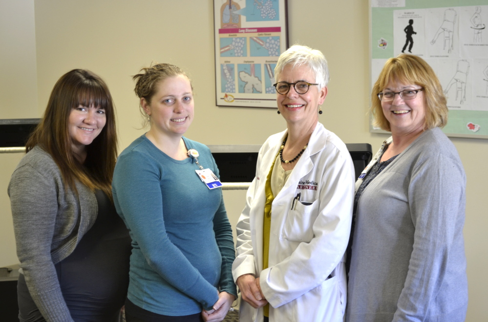 Members of the cardiac rehabilitation team at Franklin Memorial Hospital include, from left, cardiac rehabilitation therapist Meghan Blodgett, registered nurse Jessie Gray, Dr. Lesley West and registered nurse Vicki Adams.