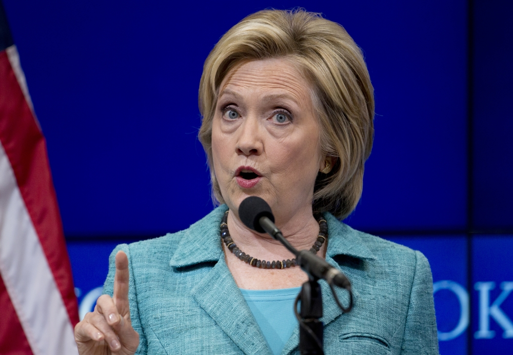 Democratic presidential candidate Hillary Rodham Clinton speaks at the Brookings Institution in Washington.
