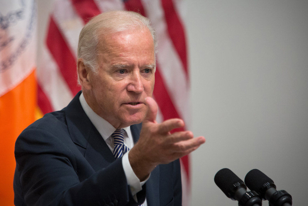 """""""There's nothing more consequential than giving a woman back her life,"""" says Vice President Joe Biden in New York City on Thursday."""