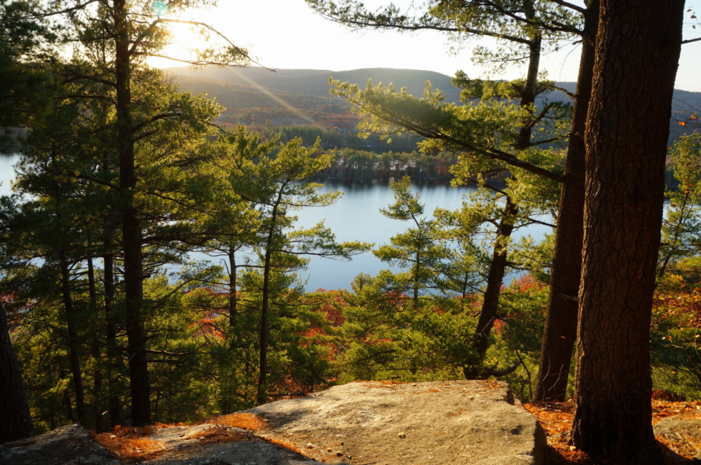 The view from the Long Pond Loop Trail on The Mountain in Rome. A U.S. District Court had dismissed a suite by a company that wants to build a cellphone towe on the summit of the hill that overlooks both Great and Long ponds and is popular with hikers. The court said the company has yet to exhaust its appeals process with the town.