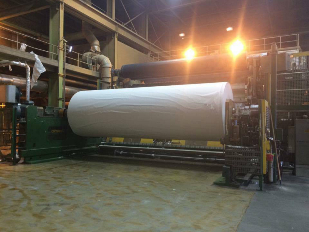 The last roll of paper to roll out of Madison Paper Industries was photographed and posted on Facebook. The mill closed Saturday.