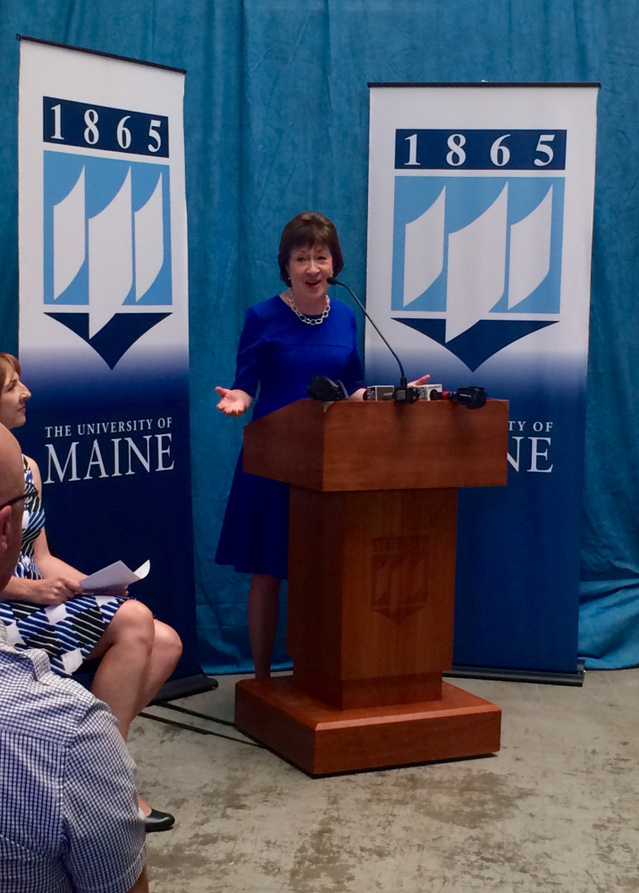 U.S. Sen. Susan Collins, R-Maine, tells an audience Friday at the University of Maine that collaboration among federal, state and local officials will be key to assessing the needs of the state's forest products industry.