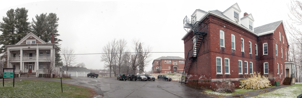 This April 26 photo shows part of the Stevens Commons complex in Hallowell, where developer Matt Morrill wants to transform the buildings and grounds into residential and commercial space.