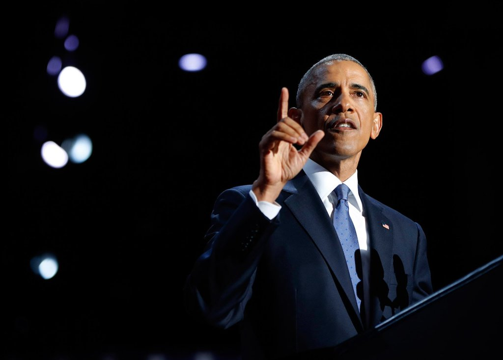 """President Obama speaks during his farewell address at McCormick Place in Chicago on Tuesday night. He said he ends his tenure inspired by America's """"boundless capacity"""" for reinvention. Associated Press/Pablo Martinez Monsivais"""