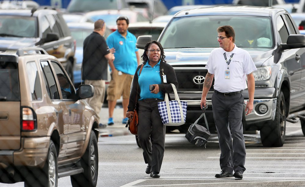 Boeing employees leave work during a shift change Wednesday in North Charleston, S.C. Thousands of production workers at Boeing's South Carolina plant overwhelmingly decided that they did not want to unionize.