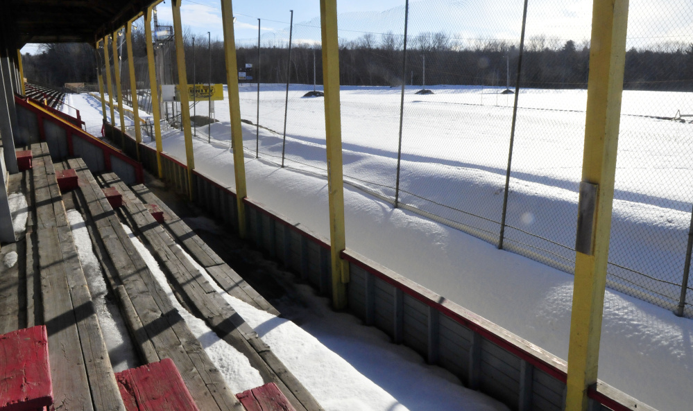 The snow-covered race track at Unity Raceway in Unity as seen from the grandstand on Wednesday. Plans for a race on the snow are scheduled for early March.