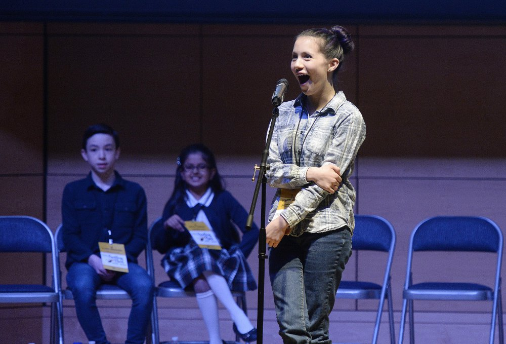 "Naomi Zarin of the Friends School of Portland reacts after winning the Maine State Spelling Bee on Saturday. She correctly spelled the word ""copal"" in the 42nd round."