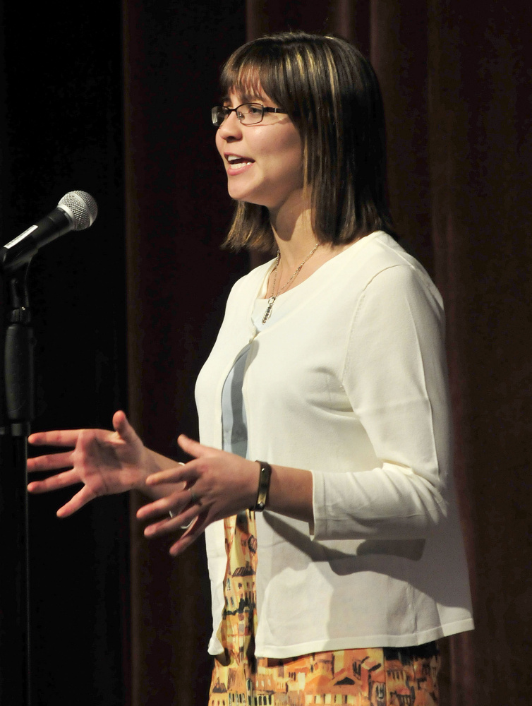 Gabrielle Cooper of Gardiner Area High School competes in the Poetry Out Loud finals at the Waterville Opera House on Monday and was later announced as the winner. Cooper will move on to national competition in Washington, D.C. The event is organized by the National Endowment for the Arts and Poetry Foundation and administered by the Maine Arts Commission.